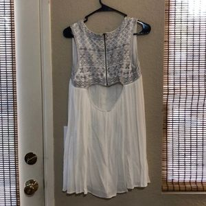 White dress with beautiful grey embroidery